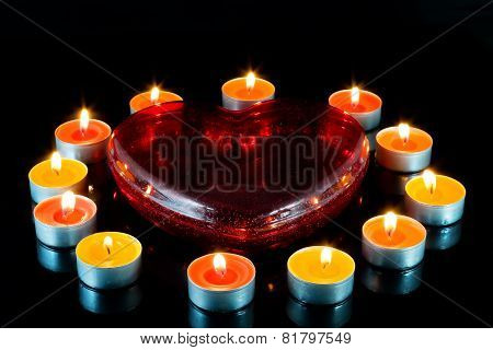 Heart , Surrounded Small Candles.