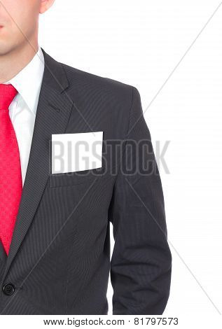 Fragment Of Businessman Black Suit And Blank Card.