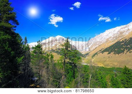 Beautiful View Of Mountains In The Elbrus Area. Land View.