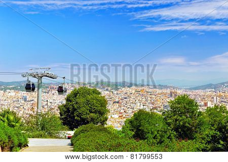 BARCELONA, SPAIN - SEPTEMBER 03: View of the Barcelona panorama above.