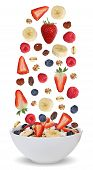 stock photo of fruit bowl  - Ingredients of fruit muesli for breakfast in bowl with fruits like raspberry blueberries banana and strawberry - JPG