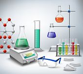pic of medical  - Science chemical and medical research equipment in lab realistic background vector illustration - JPG
