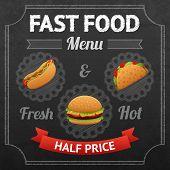 Постер, плакат: Fast Food Chalkboard