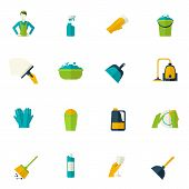 pic of maids  - Cleaning icon flat set with maid bucket sponge gloves isolated vector illustration - JPG