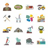 stock photo of earth-mover  - Coal diamond gold mining icons flat set isolated vector illustration - JPG