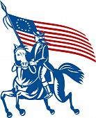 stock photo of betsy ross  - illustration of an American revolutionary general a riding horse with Betsy Ross Flag - JPG
