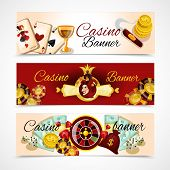 stock photo of dice  - Casino horizontal banner set with roulette dice blackjack poker elements isolated vector illustration - JPG