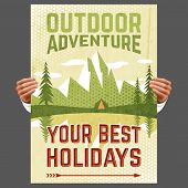 picture of tent  - Your best outdoor holiday adventure hiking tours travel agency advertisement poster with forest tent abstract vector illustration - JPG