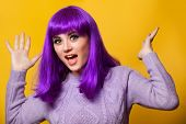 picture of violets  - Happy girl with violet hair on violet background - JPG