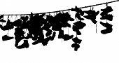 stock photo of platform shoes  - Black Shoes on rope on white background - JPG
