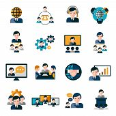 picture of collaboration  - Business meeting icons set with agreement deal presentation collaboration symbols isolated vector illustration - JPG