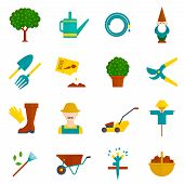 pic of orchard  - Country orchard  vegetable garden harvest flat pictograms collection with irrigation system symbols abstract isolated vector illustration - JPG