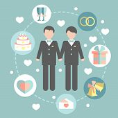 pic of gay wedding  - happy gay couple in wedding attire and casual clothes - JPG