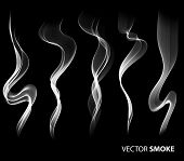picture of vapor  - Set of Vector realistic smoke on black background - JPG