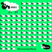 picture of counting sheep  - white and black sheep counting on green background eps10 - JPG