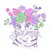 image of kitty  - Beautiful and cute hand drawn kitty with a floral wreath on head - JPG