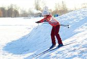 picture of nordic skiing  - Girl enjoying cross - JPG