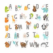 picture of alphabet  - Cute vector zoo alphabet with cartoon animals isolated on white background - JPG