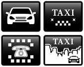 picture of cabs  - set isolated four black taxi cab icons - JPG