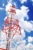 stock photo of relay  - Radio Relay Link Mobile Base Station of Mobile Operator (BTS)