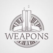stock photo of guns  - Design elements with gray vintage line style two traumatic pneumatic guns round icon for self defense with word Weapons for some business or website on gray background - JPG