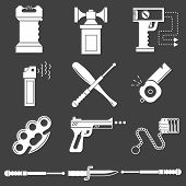 picture of brass knuckles  - Set of white silhouette vector icons for self defence weapons and devices on black background - JPG