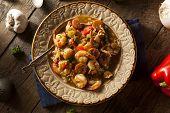 stock photo of creole  - Homemade Shrimp and Sausage Cajun Gumbo Over Rice - JPG
