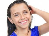 foto of sissy  - Columbian Little Girl Fun Look in front of a white background - JPG