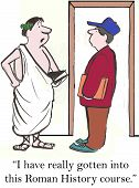 image of toga  - Cartoon of two male students talking - JPG