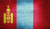 foto of mongol  - Grunge of Mongolia flag on burlap fabric - JPG