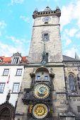 picture of brighten  - Tower and Clock on Staromestska Square Prague Czech Republic - JPG