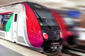 image of passenger train  - Modern Fast Passenger Train - JPG