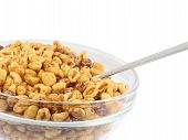 image of cereal bowl  - Glass bowl with cold cereal flakes - JPG