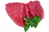 pic of boeuf  - Cut of beef steak with green leaf - JPG