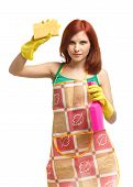 picture of cleaning agents  - Young woman with spray bottle and sponge on a white background - JPG