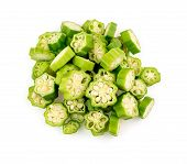 foto of okras  - Aerial top view of isolated okra on white - JPG