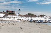 image of cape-cod  - Nobska Lighthouse in Cape Cod on a snowy Winter day - JPG