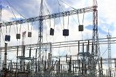 picture of power transmission lines  - Energo Substation and Power Transmission Lines in big city - JPG