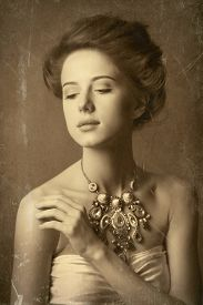 stock photo of edwardian  - Portrait of edwardian woman with necklace - JPG