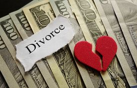 picture of divorce-papers  - Broken red heart and Divorce paper note on cash - JPG
