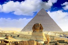 stock photo of pharaohs  - Great Pyramid of Pharaoh Khufu located at Giza and the Sphinx - JPG