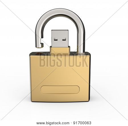 Secure Usb Data Drive Isolated On White Background