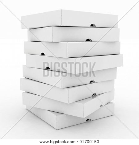 3d boxes for pizza isolated on white background