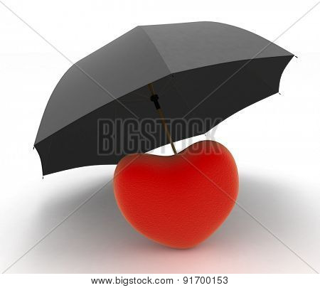 Red heart under umbrella on white background