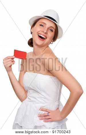 Summer woman showing credit card with copy space