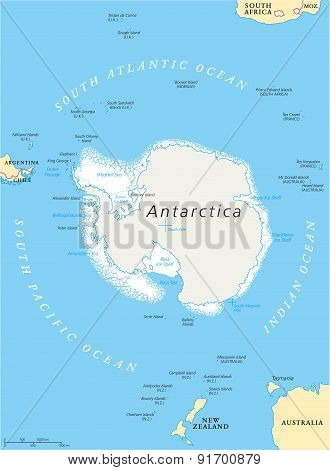Antarctic Region Political Map