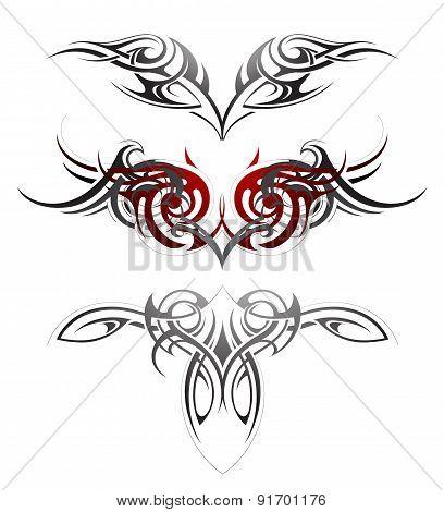 Tribal art tattoo set