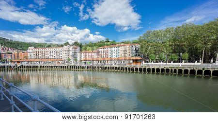 Classic houses along Nervion river in Bilbao