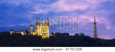 Blue Hour On The Cathedral Fourviere To Lyon City