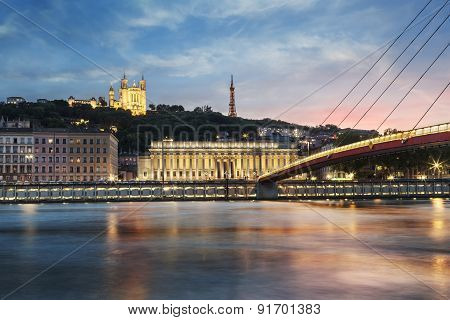 View Of Saone River At Sunset In Lyon City